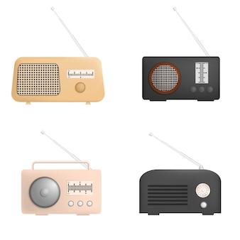 Zestaw makiet radiowych muzyki starego urządzenia. realistyczna ilustracja 4 starych urządzeń radiowych z muzyką do internetu