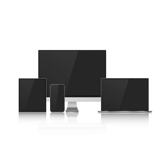 Zestaw makiet urządzenia z czarnymi ekranami do projektowania