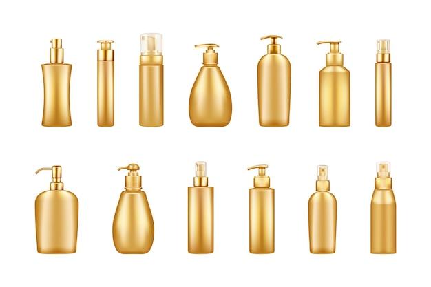 Zestaw makiet złotych luksusowych butelek z pompką: serum, balsam, balsam, krem, środek dezynfekujący
