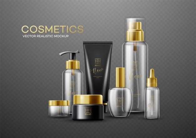 Zestaw makieta szablon białe, czarne i szklane butelki kosmetyczne ze złotymi nakrętkami na białym tle na ciemnym tle. prawdziwy efekt przezroczystości.