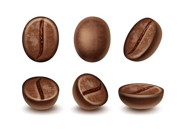 Zestaw makro świeżych palonych ziaren kawy w różnych pozycjach na białym tle