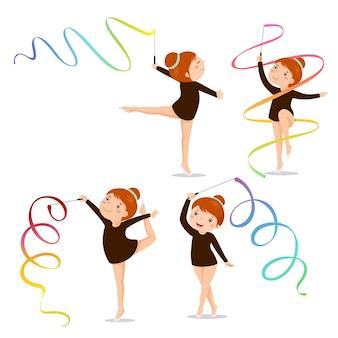 Zestaw mała dziewczynka gimnastyczka ćwiczenia ze wstążką