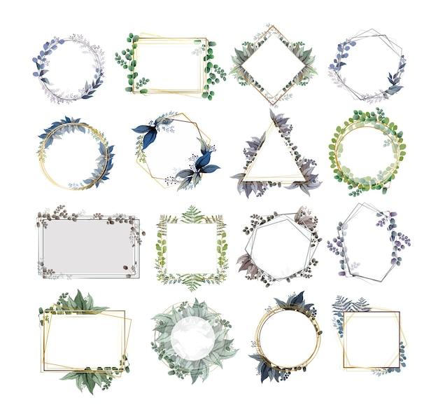 Zestaw malowniczych, wdzięcznych ramek z gałązkami kwiatów, liśćmi