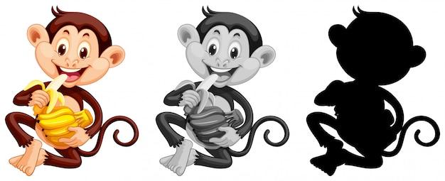 Zestaw małpa jedzenie bananów
