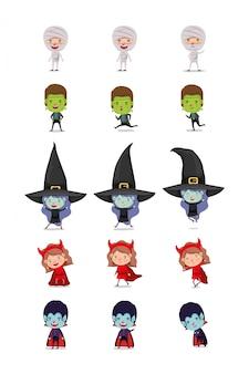 Zestaw małych dzieci z kostiumami zestaw znaków