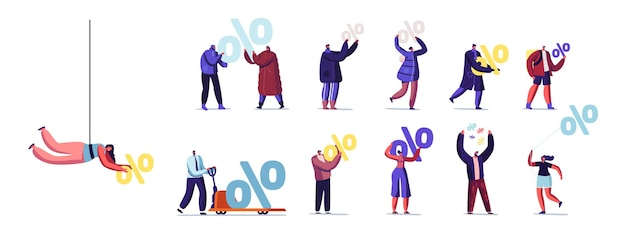 Zestaw małych męskich i żeńskich znaków posiadających ogromne znaki procentu na białym tle. promocja rabatowa, oszczędności i oferta sprzedaży. kalkulacja kredytu bankowego. ilustracja wektorowa kreskówka ludzie