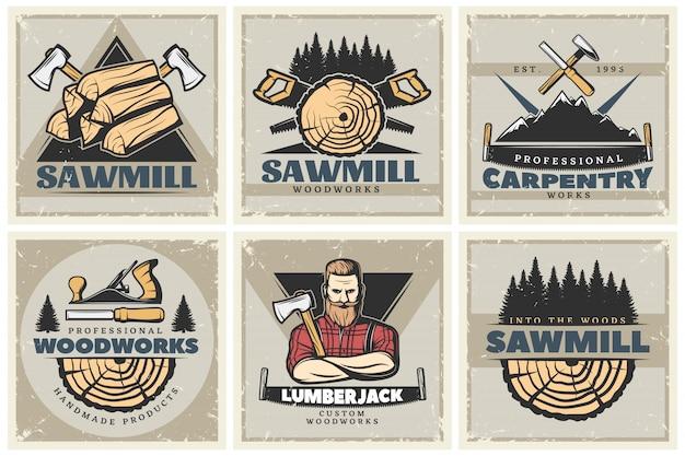 Zestaw małych plakatów sawmill
