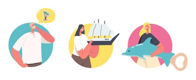 Zestaw małych postaci męskich i żeńskich posiadających ogromne magnesy z pamiątkami do lodówki. mężczyzna myśli o palmie, kobietach trzymających statek i otwieraczu do butelek z delfinami. ilustracja kreskówka ludzie wektor, ikony