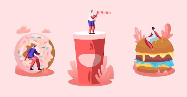 Zestaw małych postaci płci męskiej i żeńskiej wchodzących w interakcję z fastfoodem. ogromny burger z musztardą, pączkiem i napojem gazowanym. płaskie ilustracja kreskówka