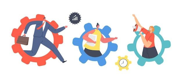 Zestaw małych postaci poruszających się ogromnymi kołami zębatymi. biznesmen i bizneswoman w gears opracowują nową strategię, kreatywny pomysł, efektywność w biznesie, wydajność pracy. ilustracja wektorowa kreskówka ludzie