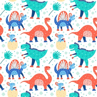 Zestaw małych uroczych dinozaurów. triceratops, t-rex, diplodocus, pteranodon, stegozaur. wzór prehistorycznych zwierząt