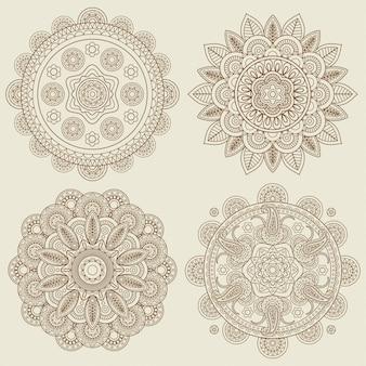 Zestaw mandale indyjskie doodle boho kwiatowy mehendi