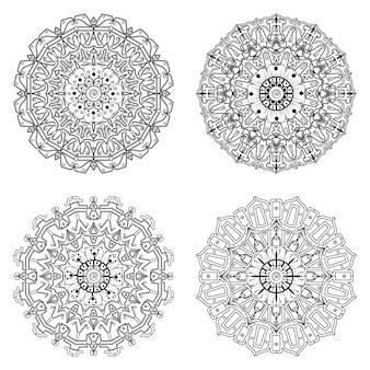 Zestaw mandali z ornamentem kwiatowym mehndi w etnicznym stylu orientalnym kolorowanki książki