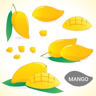 Zestaw mango w różnych formatach wektorowych stylów