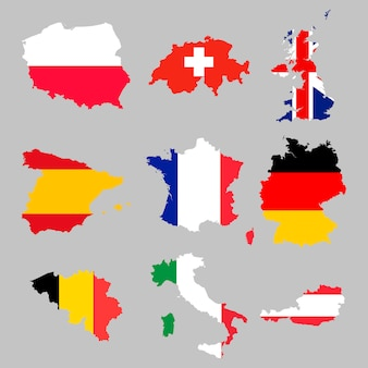 Zestaw map flagi europejskiej