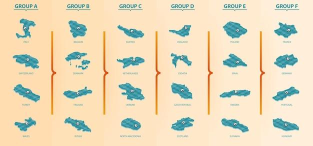 Zestaw map izometrycznych z boisko do piłki nożnej. mapy rozgrywek piłkarskich posortowane według grup. kolekcja wektorów.