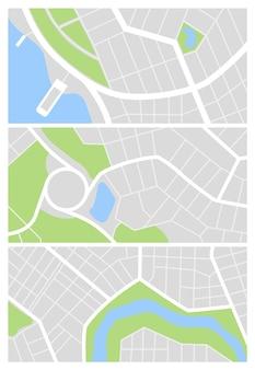 Zestaw map miasta. ulice miasta z zielonym parkiem i rzeką. plany nawigacji gps w centrum miasta, streszczenie transportu miejskiego w wektorze. rysowanie małych map drogowych miasta. tekstura wzorów miejskich