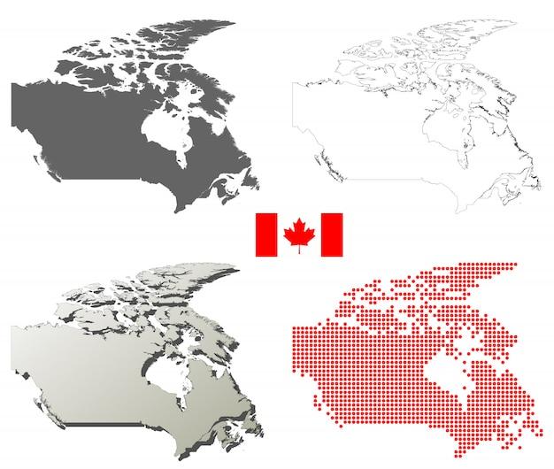 Zestaw map wektorowych zarys kanada