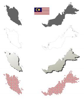 Zestaw map wektorowych zarys malezji