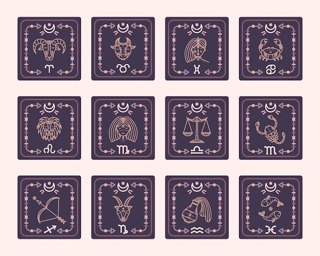 Zestaw map wektorowych ze znakami zodiaku. karty astrologiczne.