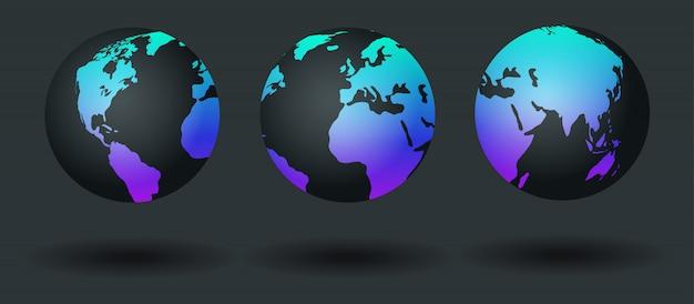 Zestaw mapy świata, kula ziemska. planeta z kontynentami. ilustracja.