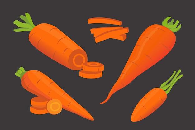 Zestaw marchewek w płaskiej konstrukcji
