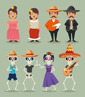 Zestaw mariachi mężczyzn z kobietą i catrina ze szkieletami