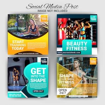 Zestaw marketingowy mediów społecznościowych gym