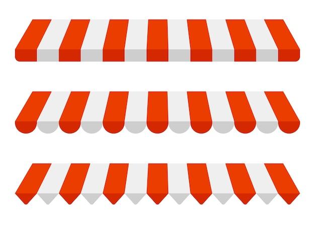 Zestaw markiz w paski, czerwono-biała osłona przeciwsłoneczna.