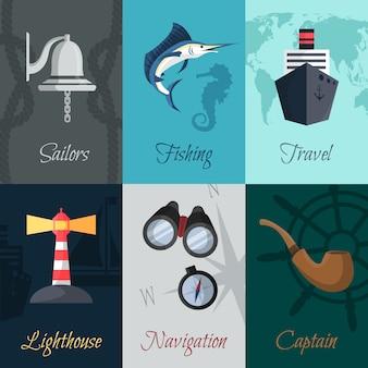 Zestaw marynistycznych plakatów morskich