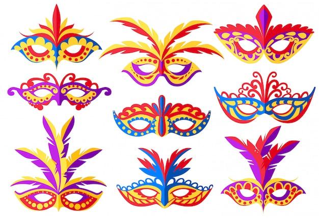 Zestaw masek karnawałowych. maski do dekoracji imprez lub maskarady. kolorowa maska z piórami. ilustracja na białym tle. strona internetowa i aplikacja mobilna
