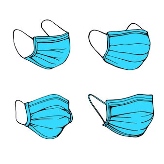 Zestaw masek medycznych. ręcznie rysowane ilustracji wektorowych
