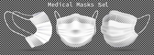 Zestaw masek medycznych - szablon. pod różnymi kątami w celu ochrony koronawirusa, infekcji i zanieczyszczonego powietrza.