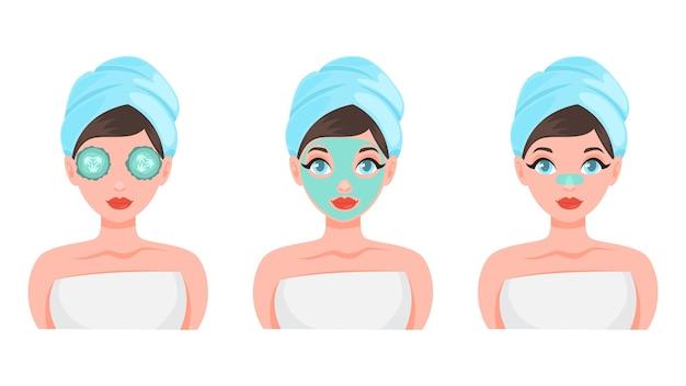Zestaw masek na twarz. kolekcja kobiety z różnymi