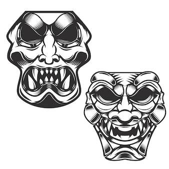 Zestaw masek samurajskich. elementy, etykieta, znak. ilustracja.