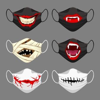 Zestaw masek z tkaniny. halloweenowa maska na twarz