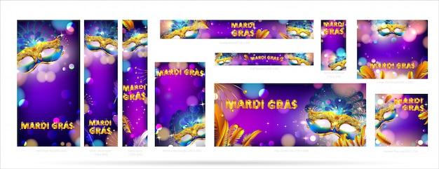 Zestaw maski karnawałowe transparent mardi gras i plakat reklamowy