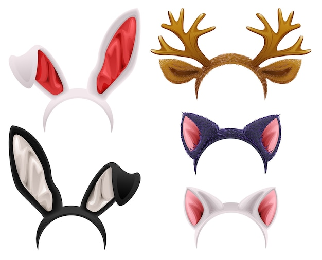 Zestaw maski kota, królika, poroża jelenia i uszy. na białym tle