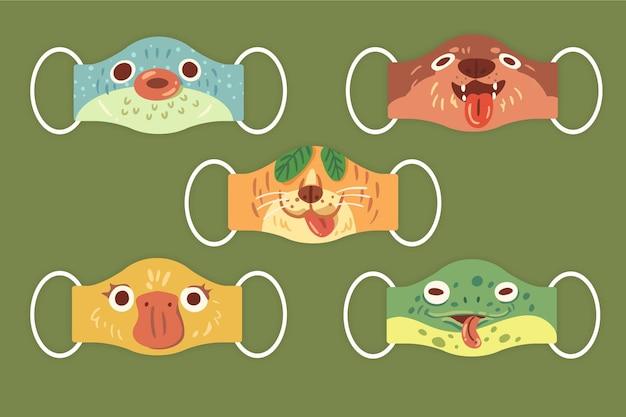 Zestaw maski zwierząt