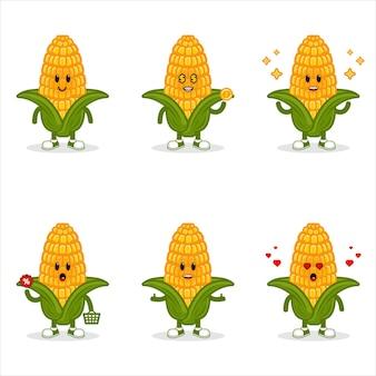 Zestaw maskotek kukurydzy, zestaw znaków kukurydzy