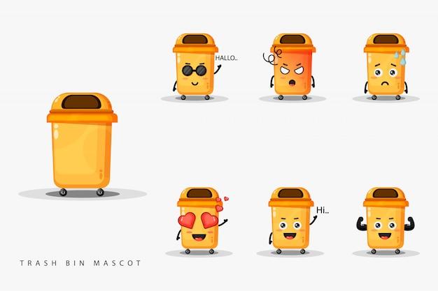 Zestaw maskotka ładny kosz na śmieci