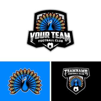 Zestaw maskotki pawie logo drużyny piłkarskiej. .