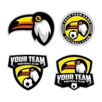 Zestaw maskotki toucan head do logo drużyny piłkarskiej. .