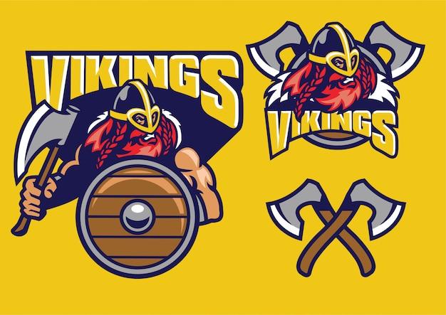 Zestaw maskotki wikingów z toporami i tarczą