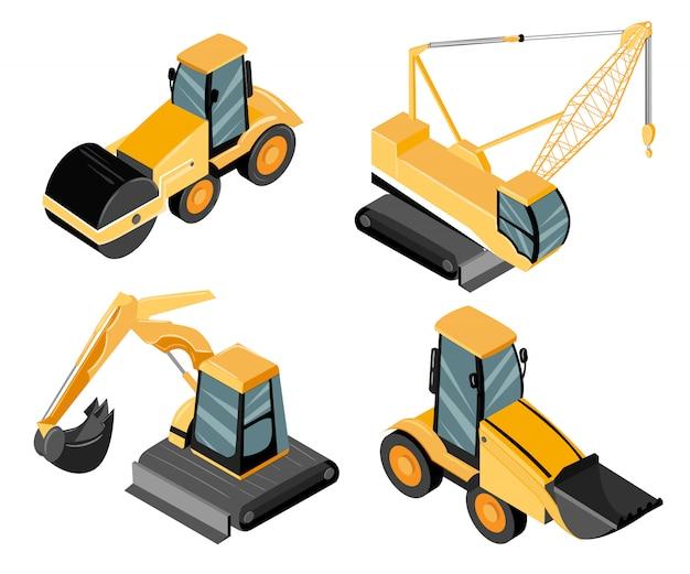 Zestaw maszyn budowlanych. walec drogowy, koparka, dźwig. domyślny żółty kolor pracujących maszyn. ilustracja na białym tle. strona internetowa i aplikacja mobilna
