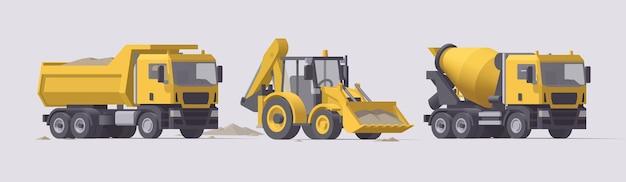 Zestaw maszyn budowlanych. wywrotka z piaskiem, koparko-ładowarka, betoniarka. ilustracja. kolekcja