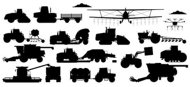 Zestaw maszyn rolniczych. sylwetki pojazdów do prac polowych. na białym tle ciągnik przemysłowy, kombajn, kombajn, zbiór prochowiec transport płaski ikona kolekcja rolnictwo i maszyny rolnicze