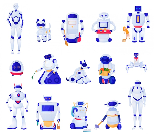 Zestaw maszyn sztucznej inteligencji różnych kształtów robotów zwierzęta domowe i pomocników domowych na białym tle ilustracja