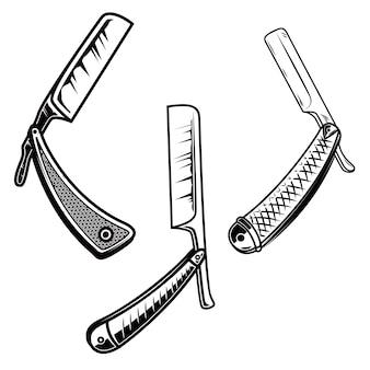 Zestaw maszynek do golenia w stylu retro. element plakatu, karty, banera, znaku, godła. ilustracja
