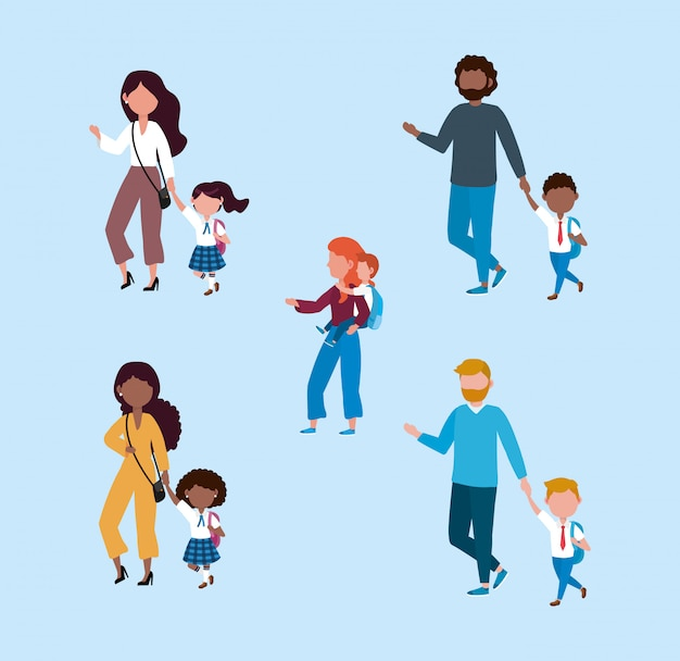 Zestaw matek i ojców ze studentami chłopców i dziewcząt